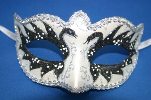 Noir ET Argent Perlé Vénitien Masquerade Masque Carnaval