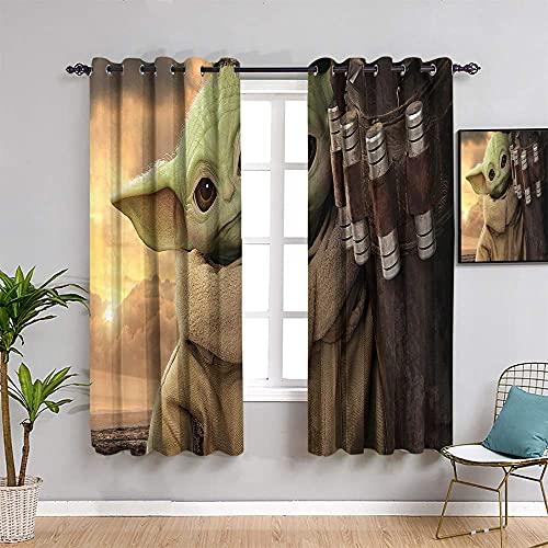 S-Tar W-ars - Cortinas para dormitorio, cortinas de 160 cm de largo, diseño de bebé Yo-da The Man-dalo-rian Temporada 2 para niños, decoración de la habitación de niños, 55 x 63 pulgadas