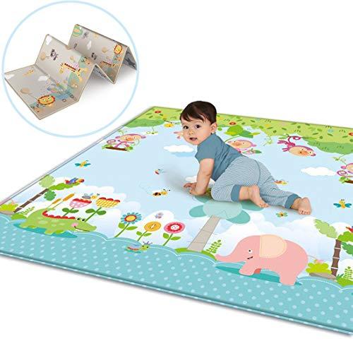 Tappetino Gioco per Neonati, GODNECE Doppia Faccia Impermeabile Tappeto Grande Bambini Gattonamento, 200 x 180 x 1cm
