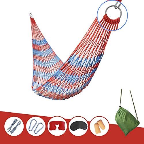 FHISAO Hamaca, Hamaca al Aire Libre Jardín Negrita Cuerda de algodón de Malla Hamaca al Aire Libre para Adultos Columpio Negrita,Red + Blue