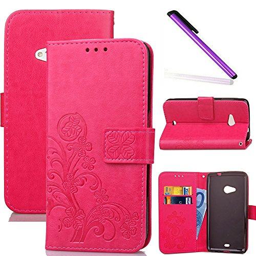 COTDINFOR Nokia Lumia 535 Custodia Cover Elegante Retro Donna Clover Embossing PU in Pelle con Wallet Card Holder Flip Custodia per Nokia Lumia 535 Clover Red SD
