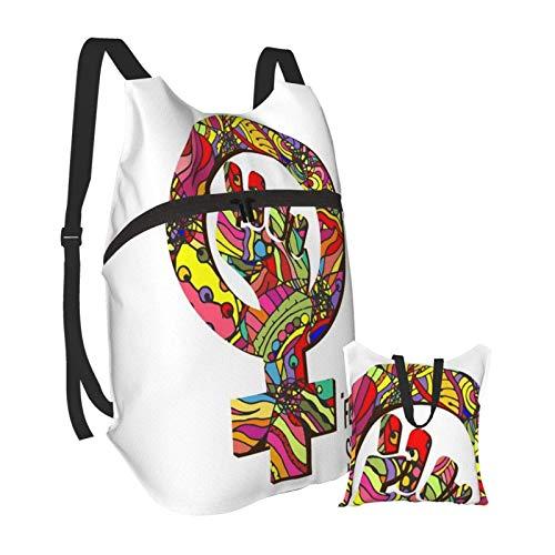 KANSS Homosexuell Romantik Wieder Fest Logo Wandern Bapack Männer und Frauen Wasserdicht Tragbare Faltbare Bapack Reisesport Einkaufen Ultraleichte Freizeittasche