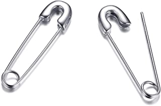 Gold Plated Stainless Steel Stylish Cartilage Earrings Punk Goth Safety Pin Earrings for Women Girl