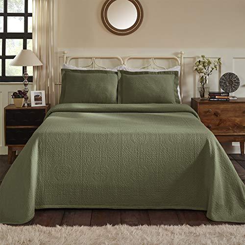 SUPERIOR Jacquard Matelasse Fleur De Lis 100% Cotton Medallion 3-Piece Bedspread Set - Twin, Sage