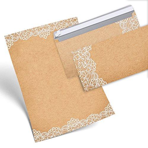 SET 25 Blatt Briefpapier VINTAGE SPITZE weiß beidseitig bedruckt 100g DIN A4 Brief-Bogen + 25 Stück nostalgie Umschlag Kuvert DIN Lang antik alt vintage rustikal natur braun beige
