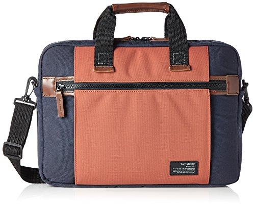 "Samsonite Sideways Laptop Bag 15.6"" Bolso Bandolera, 10.5 Litros, Color Azul/Naranja"
