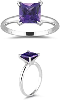 1.40 Cts of 7 mm AAA Princess Amethyst Solitaire Ring in 14K White Gold