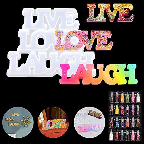 Liebes-Silikonharzform, Live Love Laugh Epoxidgussform mit 24 bunten Pailletten, Wortzeichen Silikonform für DIY Schreibtisch Tischdekoration, Wandbehang, Heimdekoration und Valentinstagsgeschenk