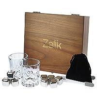 Whiskey Stones Gift Set - Set Of 8 Stainless Steel Beverage Chilling Rocks Ice Cubes Includes 2 Whiskey Glasses, Velvet Bag, Tongs With Elegant Wooden Gift Box - For Whiskey, Vodka, Liqueurs By Zalik