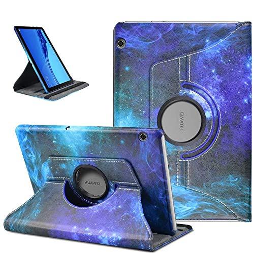KATUMO 360° Girar Funda para Huawei Mediapad T5 10 Carcasa de PU Cuero Mediapad T5 Case Cover Protectora Carcasa con Stand para Huawei Tablet T5 10 Pulgadas (Cielo Estrellado Azul)