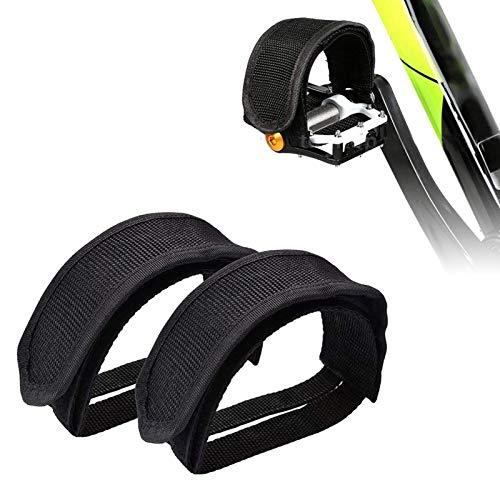 ZONSUSE Correas de Pedales, Pedales de Bicicleta Antideslizante Cinturón, Toe Clips Straps Cinta Correas de Velcro para Fijo Gear Bike, Accesorios de Seguridad para Bicicletas