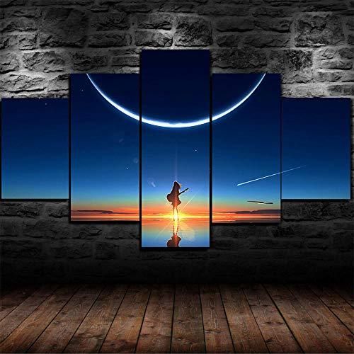 45Tdfc Cuadro En Lienzo 5 Piezas Póster Anime Scenery Sky Sunset Dormitorio Arte De Cartel Pared DecoracióN del Hogar Cuadro Pintura para Sala De Estar Listo para Marco