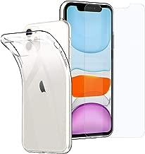 "Simpeak Funda para iPhone 11(6.1""/2019) + Cristal Vidrio Templado, Apple iPhone 11 Funda TPU Silicona Ultra Protector de Pantalla y Case iPhone 11, Transparente"