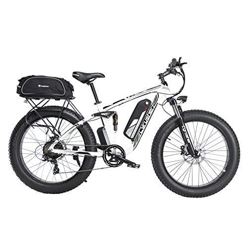 Extrbici Fettreifen Elektrofahrrad 750W / 1500W BAFANG Hochgeschwindigkeitsmotor 48V Herren und Damen Mountainbike Fahrrad Lithiumbatterie Vollfederung hydraulische Scheibenbremse XF800 26 Zoll