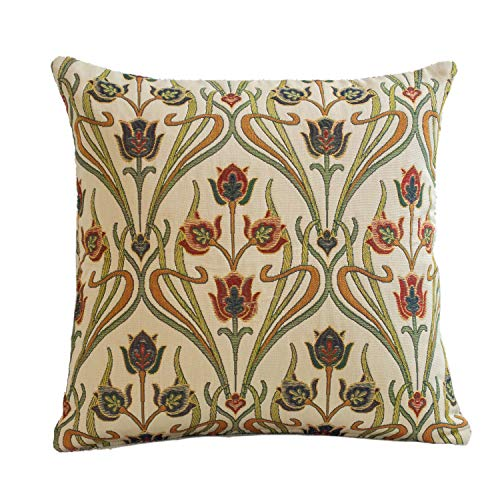 Traditional Art Deco Cushion Cover. 17x17' (45cm) Square Cover. Classic Mackintosh Style Design. Handmade in the UK from Heavyweight Tapestry Upholstery Fabric.