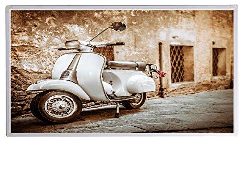 Bildheizung Infrarotheizung mit Digitalthermostat für Steckdose - 5 Jahre Herstellergarantie- Elektroheizung mit Überhitzungsschutz (Italien Roller weiß;1000W)