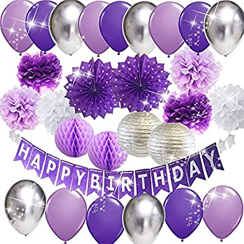Purple Silver Birthday Party Decorations for Women Happy Birthday Banner Purple Silver Latex Balloons Polka Dot Paper Fans/Girl Purple Birthday Decorations for Women 30th/40th/50th/60th Purple Birthday Party Decorations