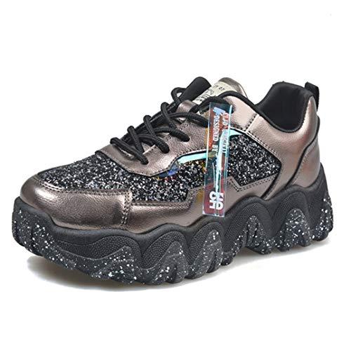 Dikke Sneakers Voor Dames Mode Glitter Platform Casual Vulcaniseer Schoenen Ronde Neus Veters Running Wandelen Fitness Trainers
