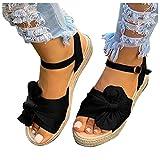 KHIIen Women's Platform Sandals Wedge Ankle Strap Open Toe Espadrille Sandals Open Toe Roman Shoes Summer Beach High Heel Sandals