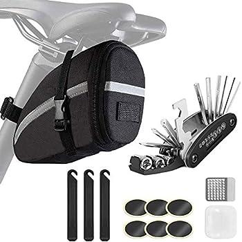 Bike Saddle Bag with Repair Tool Kits Bicycle Saddle Bag with Repair Set Bike Bag Under Seat Bike Seat Bag Bike Storage Bag with 16-in-1 Multifunction Tool Kits