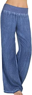 Sannysis Mujer Casual Cintura alta Elasticidad Pantalones anchos Pantalones vaqueros,Mujer Ancho Pierna Cintura Alta Elástica Holgados Flojos Suave Casual Verano Pantalones de Yoga