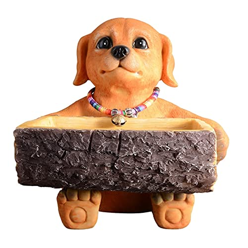 LICHUAN Dog Figurines Adornos Pequeño Almacenamiento Caja de Tejido Decoración de la Mesa de Mesa Artesanías Decorativas para la Sala de Estar de la Sala de Estar