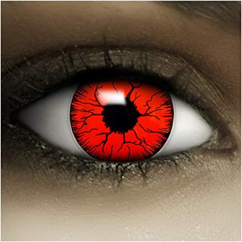 """FXContacts""""Devil"""" + étuis + faux sang, lentilles de contact colorées verts sans correction plaisir fou parfait pour Halloween et le carnaval"""