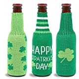 Beer Bottle Covers - 3-Pack Beer Coolies, St. Patrick's Day-Themed Bottle Sleeves, Covers for...
