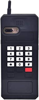 iPhone 8 Case, iPhone 7 Case, iPhone 6S Case, iPhone 6 Case, Cute Retro Classic Cellular Phone Kids Girls Soft Silicone 3D Stand Cover Rubber Protective Protector for iPhone 6 6S 7 8 -Black (Hotpink)
