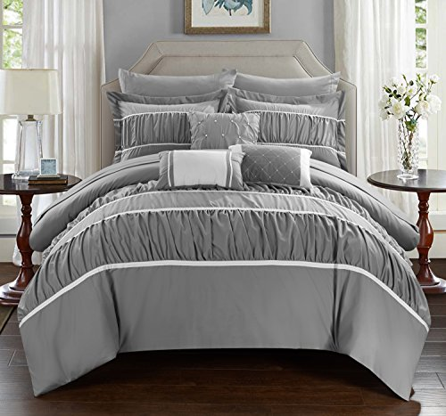 Chic Home Cheryl 10 Piece Comforter Complete Bag Pleated Ruched Ruffled Bedding with Sheet Set, Queen, Grey