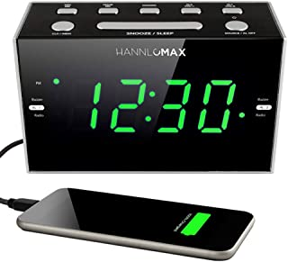 HANNLOMAX HX-122CR Alarm Clock Radio, PLL FM Radio, Green LED 1.2 Inches Display, USB Port for 1A Charging, Dimmer Function