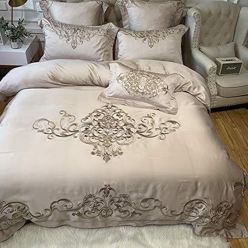 ADLOASHLOU Luxury Royal Embroidery European Palace 80S - Juego de cama (1 funda nórdica + 1 sábana encimera + 2 fundas de almohada), algodón suave, color verde