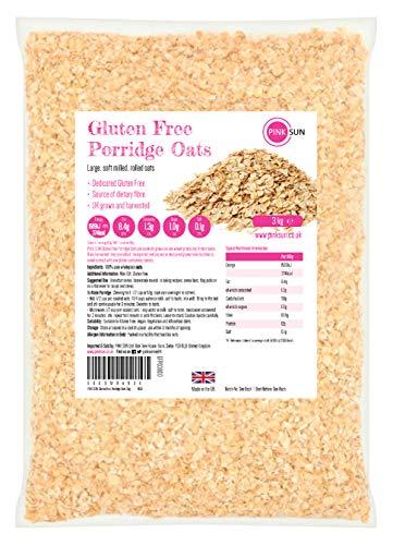 PINK SUN Avena Integral Sin Gluten Cereales 3kg Bolsa Grande Harina de Avena Copos - Gluten Free...