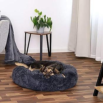 lionto by dibea Panier rond pour chien coussin pour chat panier donut Ø 70 cm (XL) Gris foncé