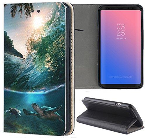 KX-Mobile Huawei Y6 2019 Hülle - Handyhülle für Huawei Y6 2019 - Handycover aus Kunstleder Motiv 1272 Schildkröte Meer Blau Schutzhülle Smart Klapphülle Hülle
