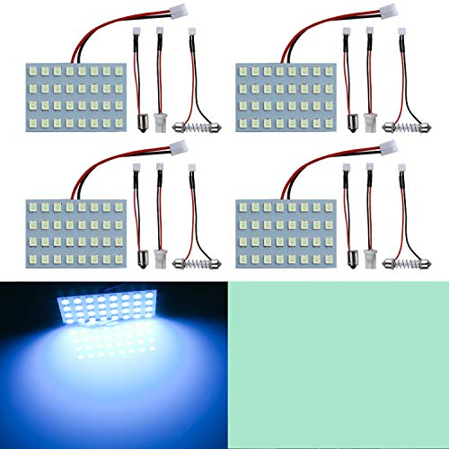 LivTee Led Panel Lights with 194 168 2825 T10 W5W / DE3175 6428 / BA9S 64111/6418 DE3423 DE3425 / 211-2 569 578 Festoon Adapters Replacement for Car Interior Map Dome Reading Trunk Lights, Ice Blue