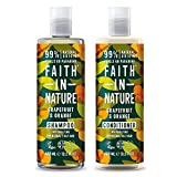 Faith in Nature Natural Grapefruit & Orange Shampoo & Conditioner Set, Invigorating Vegan & Cruelty Free, Parabens and SLS Free, for Normal to Oily Hair, 2 x 400ml