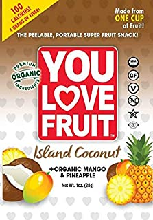 You Love Fruit Leather - Organic Island Coconut - Mango and Pineapple - 1 Ounce Pouch (Pack of 12)