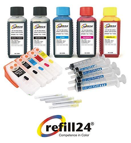 refill24 Kit de Recarga Compatible para Cartuchos de Tinta Epson T3331 + T3342-3344 / T3351 + T3361-3364 / T33XL Negro y...
