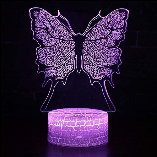 YOUPING Luz nocturna 3D Ilusión Luz 3D Luz Visual Luz 3D Día de San Valentín Cumpleaños Lámpara de mesa (Mariposa) B-19