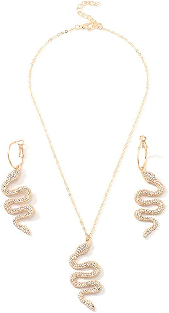 LUREME Snake Necklace and Earrings Set for Women Punk Snake Jewelry Gift (js000793)