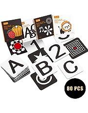 tumama Hoog contrast zwart-wit baby flash kaarten,peuter baby flash kaart met dieren fruit vorm letter alfabet aantal flashcards, pasgeboren activiteit speelgoed cadeau voor baby peuter,zuigelingen