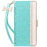 WWW Samsung Galaxy S10e Case,Galaxy S10e Wallet Case, [Luxurious Romantic Carved Flower] Leather Wallet Case [Inside Makeup Mirror] [Kickstand Feature] for Galaxy S10e 5.8' 2019 Mint Green