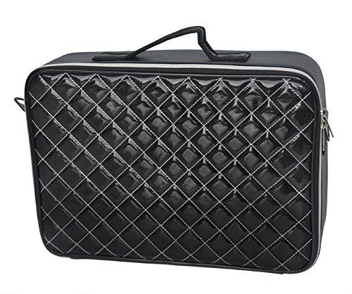 Doubleblack Profesional Neceser para Maquillaje Mujer Bolsa Maletin Organizador Viaje con Brochas Compartimentos Impermeable Negro M 37x27x10,5 cm