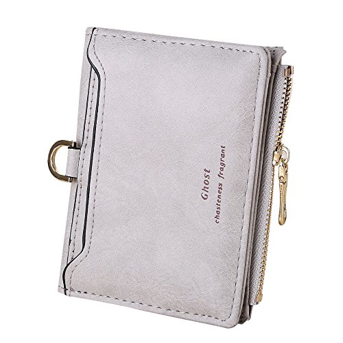 HZING Women Retro Letters Short Bifold Scrub Purse Card Holders Cash with Zipper Coin Bag