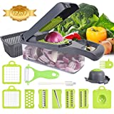Mandolines Vegetable Choppers Slicer - XREXS 12 in 1 Multifunction Veggie Slicer Manual