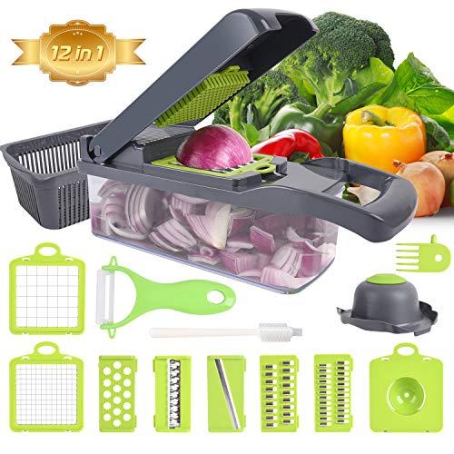 Cortador de verduras XREXS 12 en 1 multifunción, cortador manual de verduras para ensalada de verduras, ensalada de frutas, cortador de cocina doméstico, corte rápido para cebolla, patata