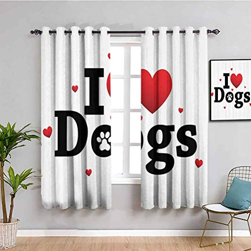 """Cortina de decoración para el dormitorio con texto en inglés """"I Love Dogs"""", texto """"Amistad Animal"""", amistad, compañerismo, arte temático, fácil de limpiar, rojo y negro (52 x 84 pulgadas)"""