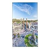 COFEIYISI Toallas de Manos City View of The Center Barcelona España Panorama Bus Catedral Fountain Travel Toalla Facial Toalla de baño pequeña Microfibra Esencial para Viajar a casa 40x70cm