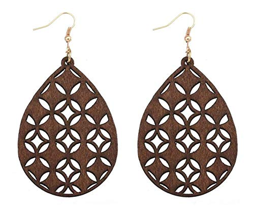 stylesilove Women Lightweight Bohemian Wooden Teardrop Cut-Out Dangle Earrings (Brown)